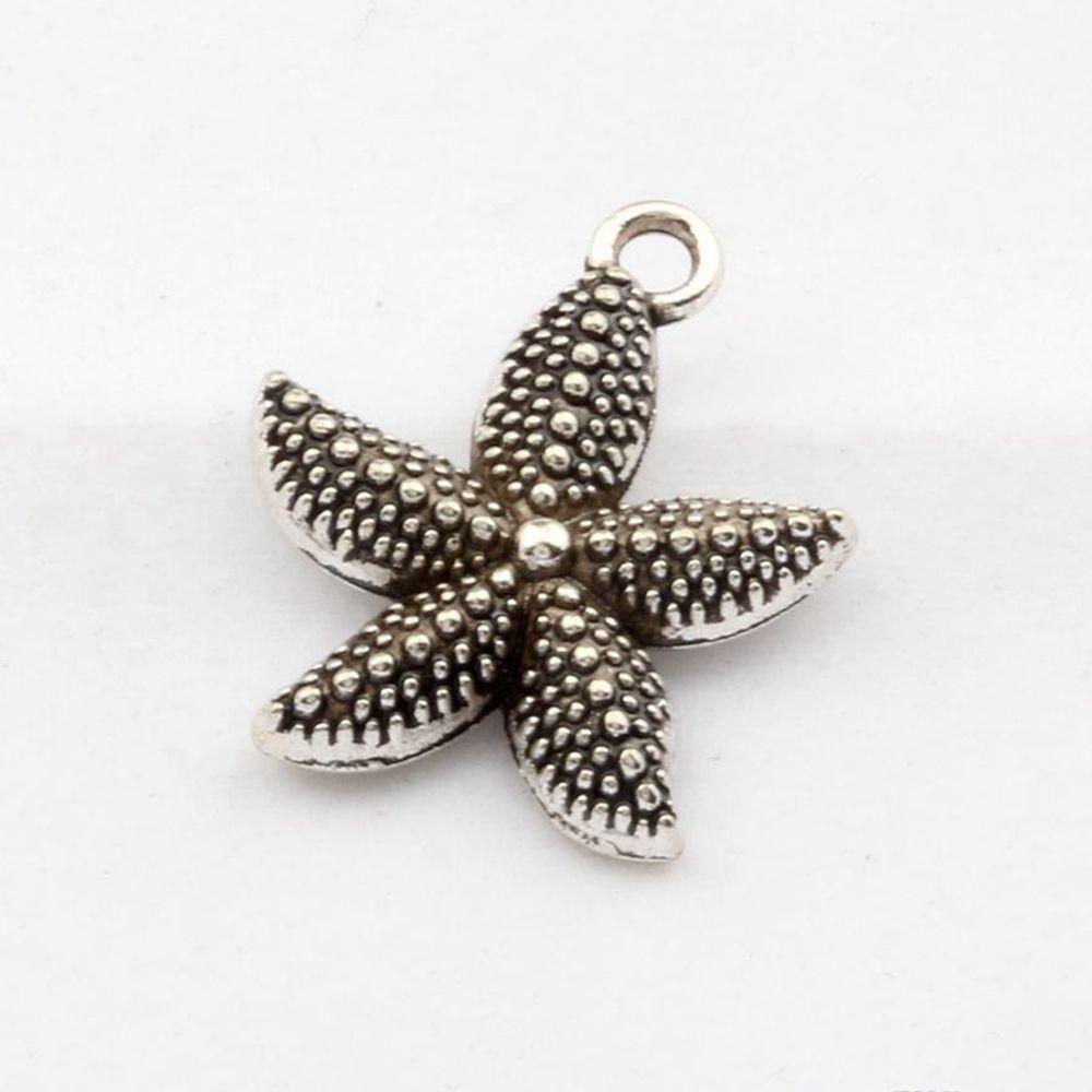 100 pcs antiga liga de prata starfish encantos pingentes para jóias fazendo pulseira conclusões de colar 18.5x22mm