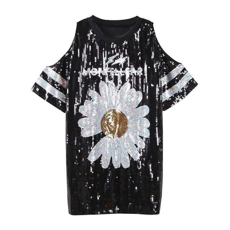 T-shirt da donna Chic Ins Sweet Floral Daisy Donne Paillettes Lunga Europa Casual Sexy ritaglio Ladies Tee Sunflower Dress Party Style Style