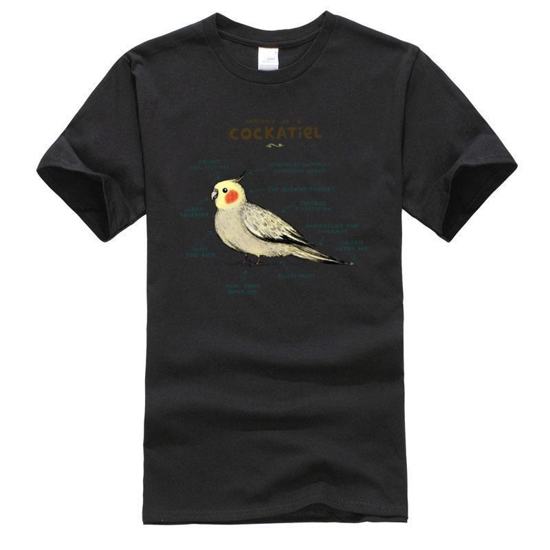 Bir Cockatiel Anatomisi Tişört Biyoloji Şematik Grafik Kuş Özel Gömlek Adam Tişörtü Hızlı Erkek T-Shirt Tops