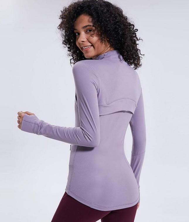 L-78 осень зима новая молния куртка быстрый сушильный наряд йога одежда с длинным рукавом пальца дырки тренировка бегущая куртка женская поросяла тонкий фитнес пальто