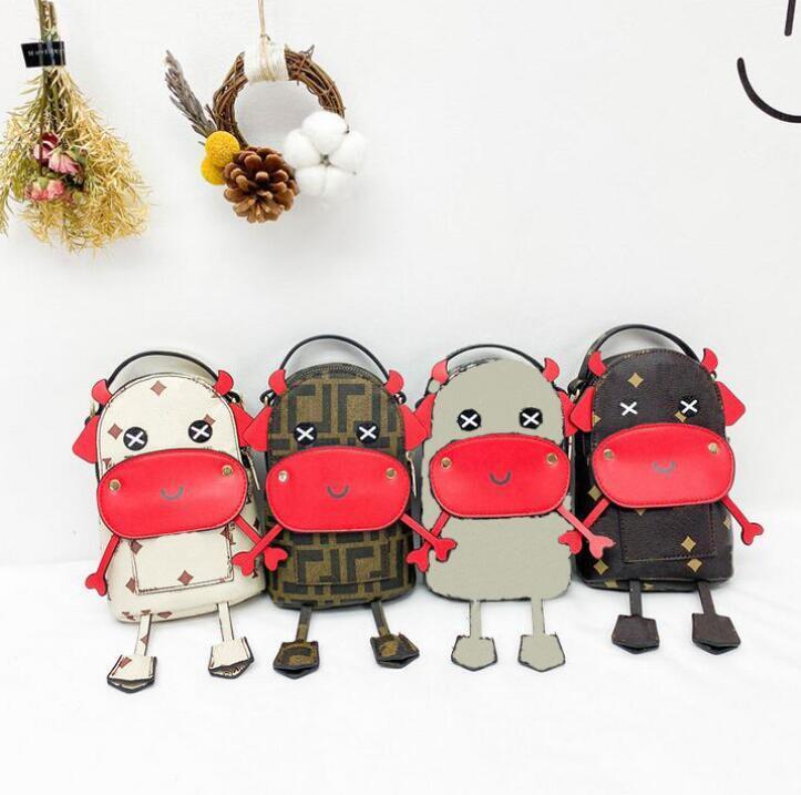 Moda Hayvanlar Desen Mini Çanta Çanta Büyük Kapasiteli Kızlar Vintage Stilleri Crossbody Messenger Çanta Deri Harfler Tek Omuz Çantaları