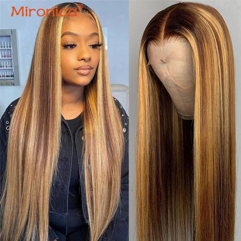 Dantel Peruk 28 30 inç Düz Ön Kopardı 13x4x1 13x6x1 T Bölüm Ön Siyah Kadınlar Için Brezilyalı Remy İnsan Saç