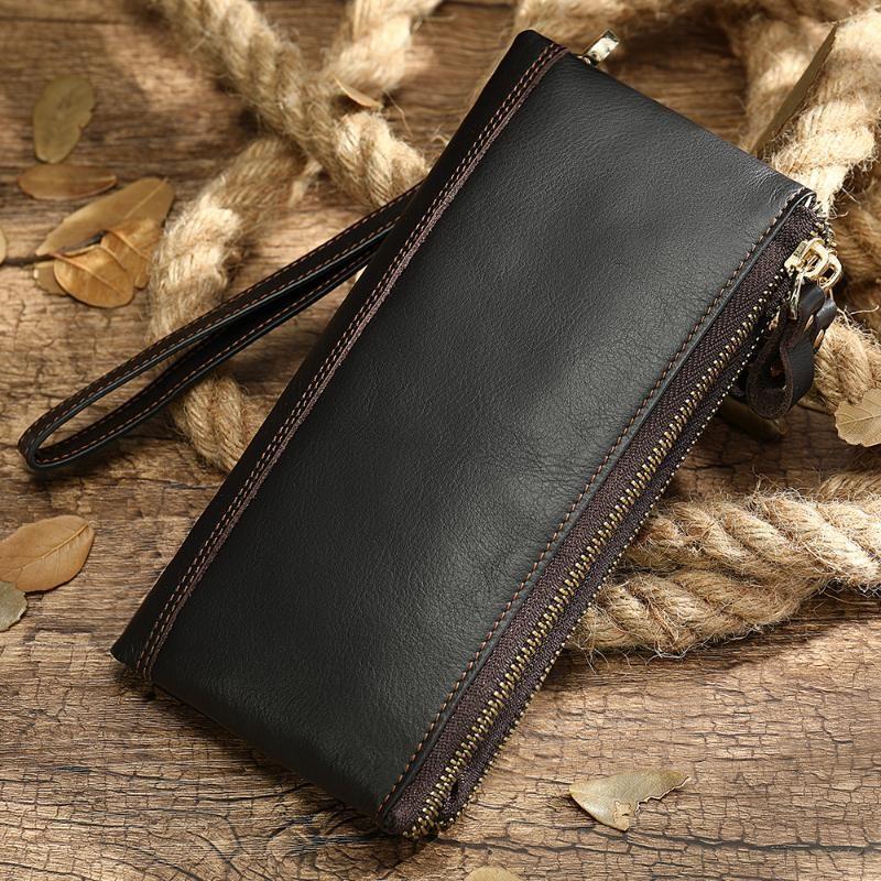Carteiras 2021 Alta qualidade Genuine Leather Men Wallet Long Bolsa Capa Caso Passaporte para Café Vintage Titular Mens