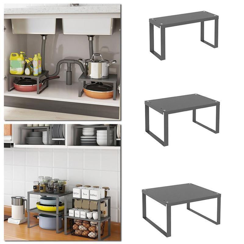 주방 캐비닛 선반 주최자 쌓을 수있는 식품 저장실 저장 랙 플레이트 B6L9 후크 레일을 구성하기위한 홈 튼튼한 그릇 사무실