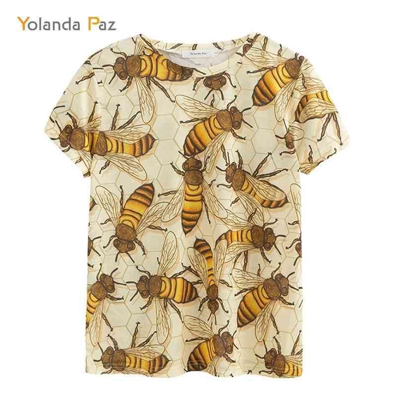 Yolanda Paz mais recentes homens / mulheres 3D camisetas de boa qualidade moda respirável conforto abelha bee manga curta o-pescoço tops 210320