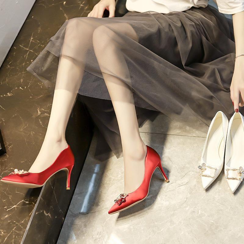 Dress Shoes Wedding Female Pointed Toe Satin Bridesmaid Red Single Crystal Bridal Stiletto High Heels 7.5cm Heel