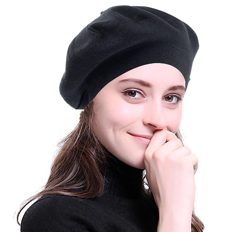 Kadın Yün Karışımı Moda Bere Şapka Katı Renk Slouchy Kış Şapka Kızlar Için Fransız Tarzı Bonnet Kapaklar Bayan Kadın Bere