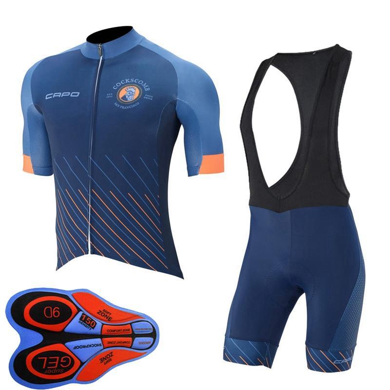 카포 팀 사이클링 저지 여름 짧은 소매 셔츠 / 턱받이 반바지 세트 Maillot Ciclismo 자전거 복장 빠른 건조 자전거 의류 41513