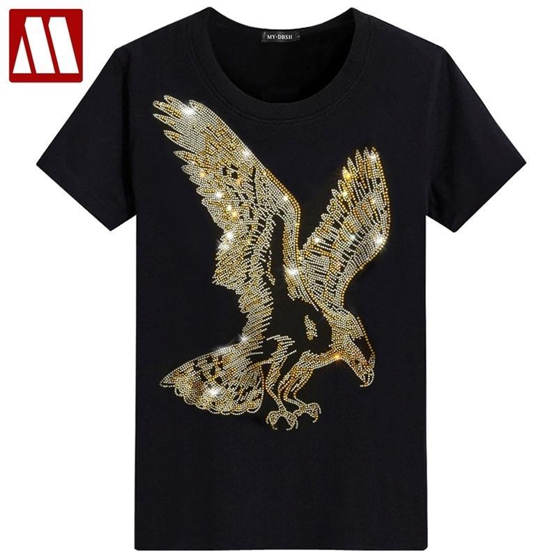 잉글랜드 스타일 멋진 Tshirt 짧은 소매 티셔츠 독수리 디자인 하단 티셔츠 프린트 여름 모조 다이아몬드 남자 패션 솔리드 mydbsh 210319