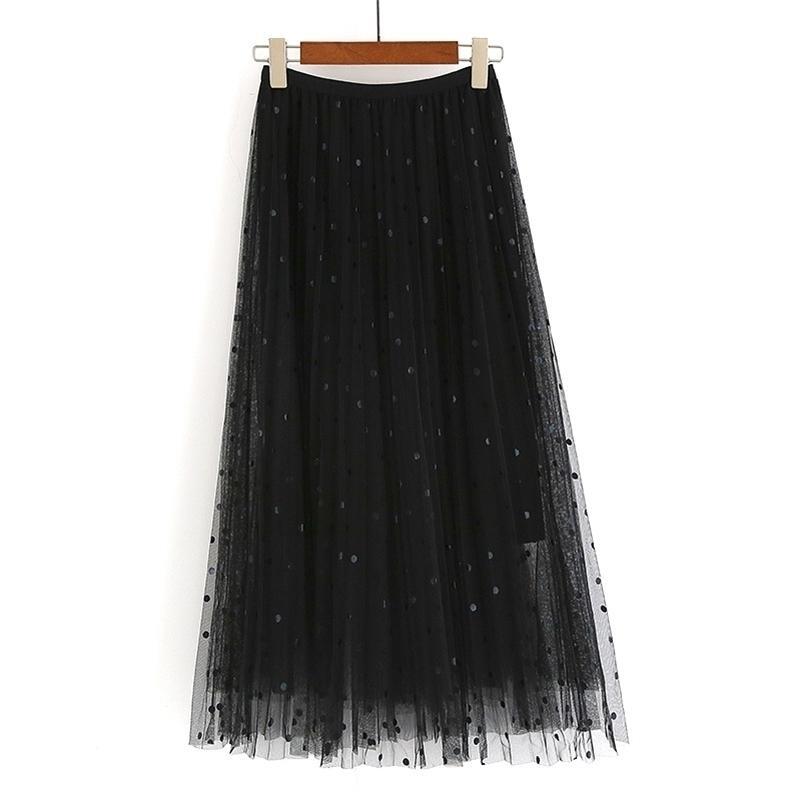 Длинные шифон в горошек детская пружина осень эластичная талия длинный тюль плиссированные юбка женские лето черный макси юбки для женщин 210319