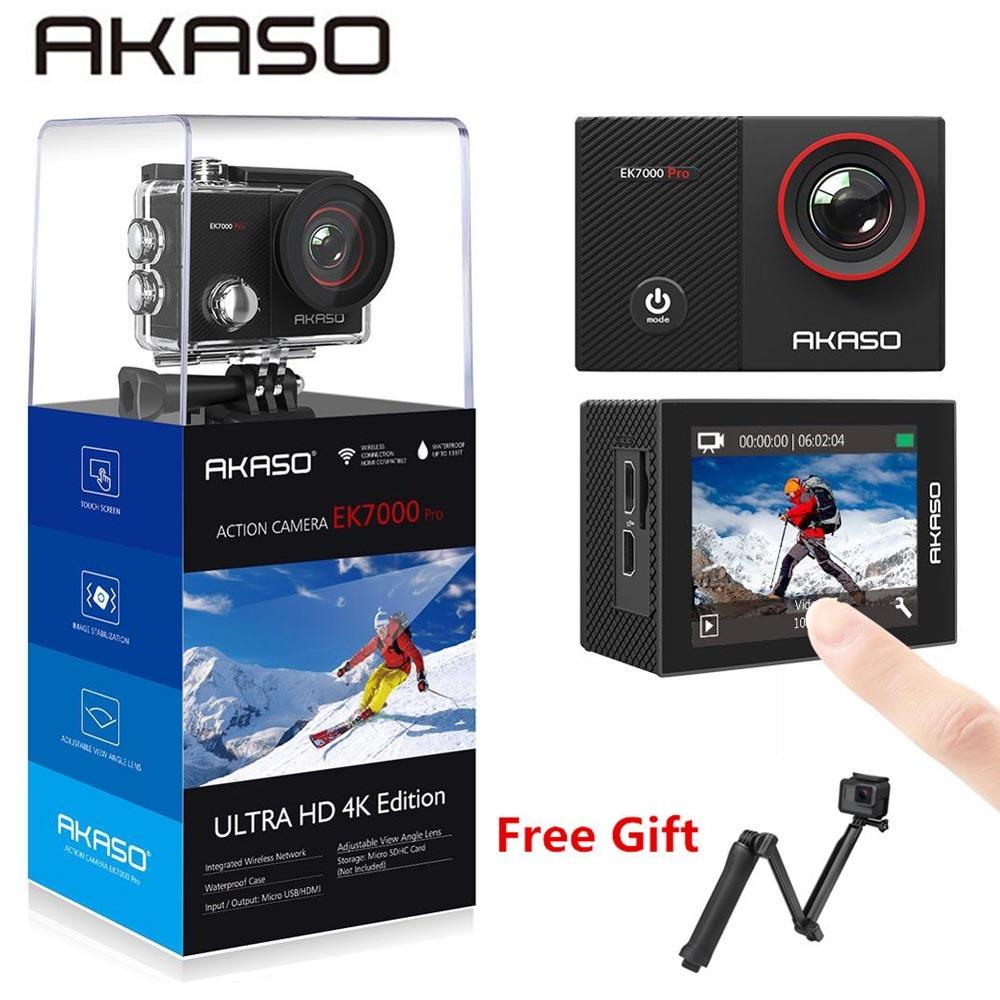 AKASO Go EK7000 Pro 4K Action Camera with Touch Screen EIS Adjustable View Angle 40m diving Camera Remote Control Sports Camera 210319