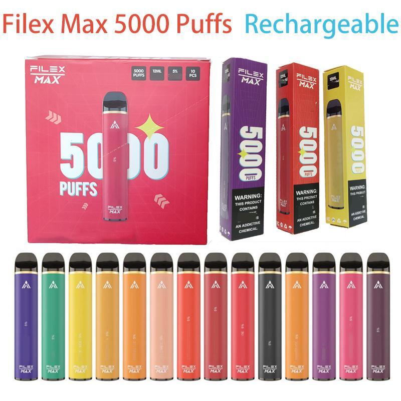 Vape descartável 5000 Barra Puff mais FileX Max Cigarro Eletrônico 12ML Capacidade Pods Dispositivo 1100mAh Bateria Chargable 13 Cores Bang XXL Flum Flum