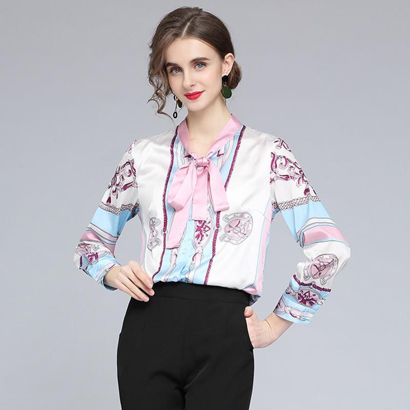 2021 빈티지 럭셔리 디자이너 활 블라우스 여성 활주로 인쇄 패션 셔츠 봄 가을 긴 소매 단추 아름다운 숙녀 셔츠 플러스 사이즈 사무실 우아한 탑스