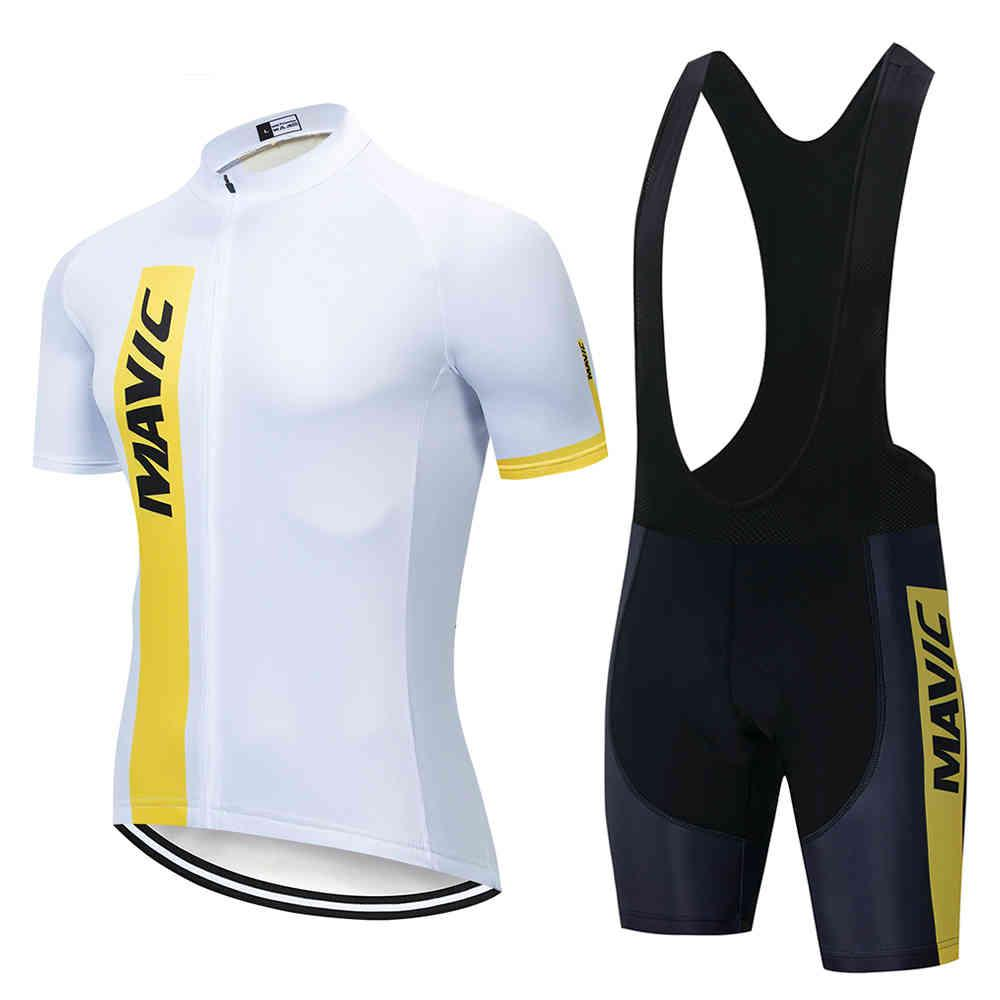 2021 Yeni Mavic Yaz Pro Bisiklet Jersey Seti Nefes Takım Yarış Spor Bisiklet Jersey Erkek Bisiklet Giyim Kısa Bisiklet Jersey X0503