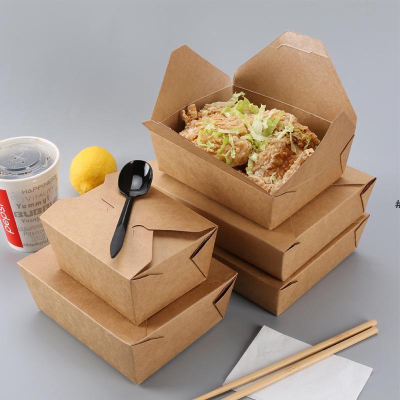 Boîte de nourriture en papier kraft de bonne qualité Boîte d'eau Restauration rapide Restauration rapide Boîtes d'emballage à emporter à rabais jetables Boîte à lunch poulet frit Sushi Salad HHF6899