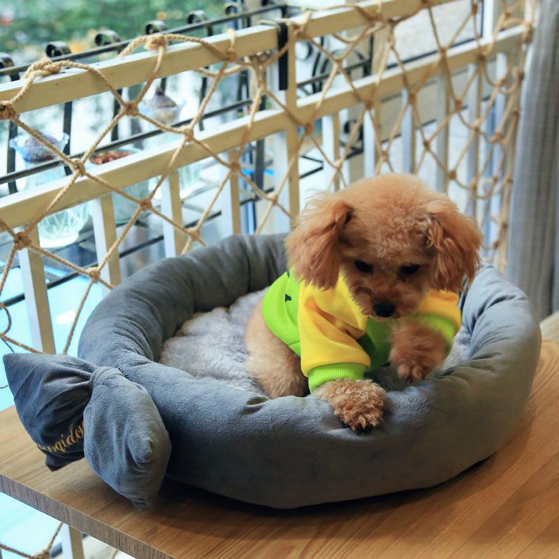 Cara de perro Cat lindo sofá rosa azul algodón transpirable 2021 Moda Bowknot sólido para pequeños perros medianos Pensinas de perros