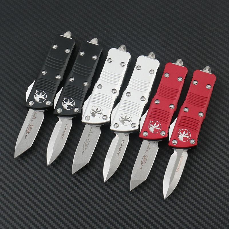 Microtech Bıçaklar Mini Troodon-M Otomatik Cep Bıçak Taş Yıkanmış D2 Çelik T6-6061 Havacılık Alüminyum Alaşım Kolu Açık Kamp EDC