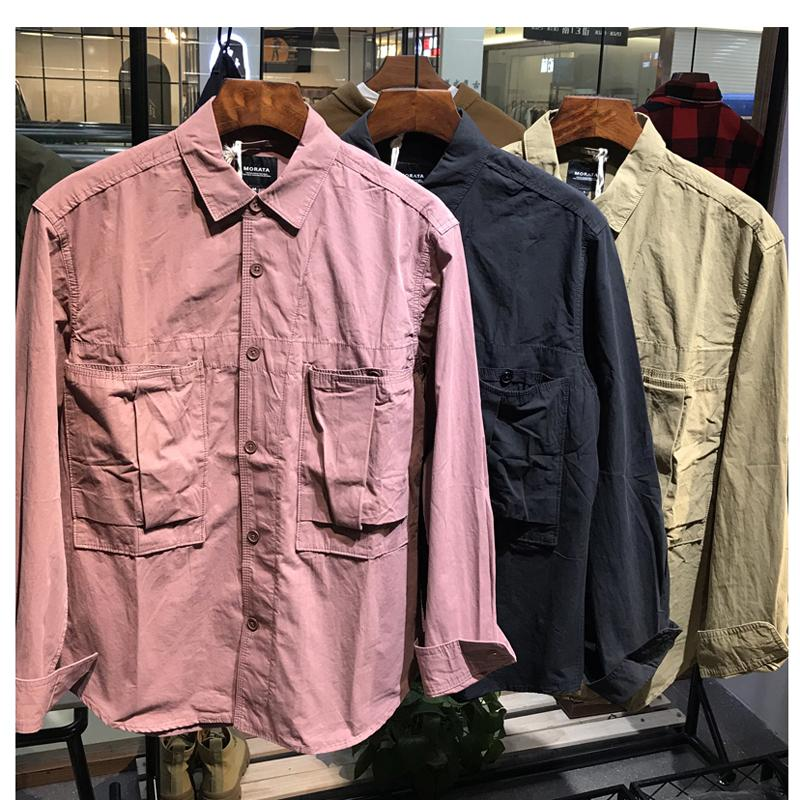 2021 Herren Baumwolle Arbeitskleidung Square Kragen Hemd Persönlichkeit Langarm Retro Tasche Casual Shirt Jacke