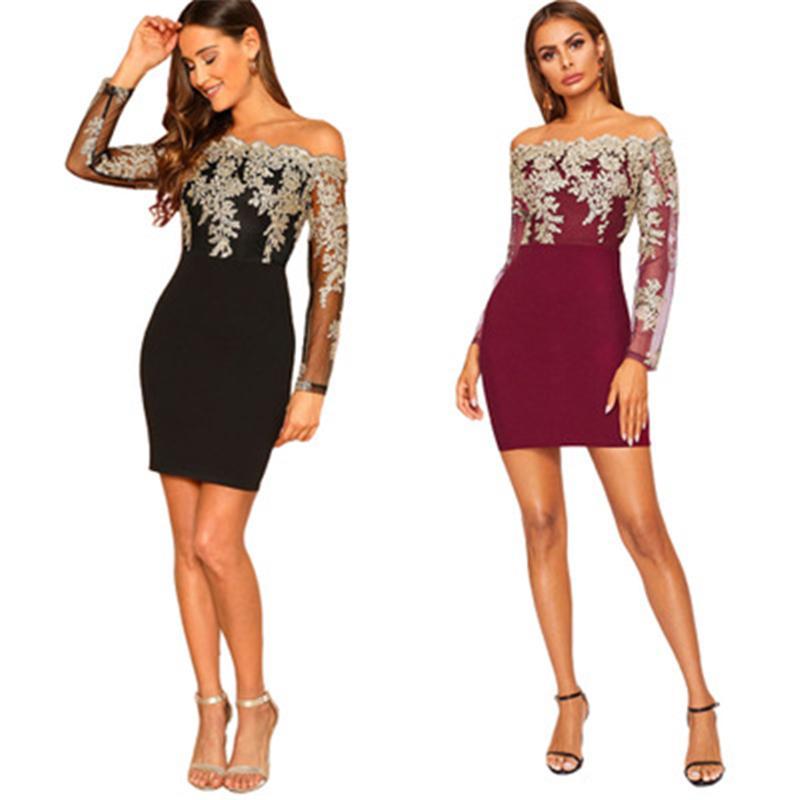 Damen stickerei spitze dress mode trend langarm wasser löslich trägerlos kurze röcke designer weibliche frühling neu lässig rohr top kleid