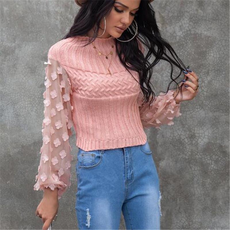Autumn Winter Women's Sweaters Petal Puff Sleeve Slim Pullover Top Sweater Women Mesh Patchwork Round Neck Knitwear Pink