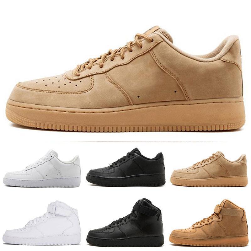 Açık Ayakkabı Klasik Tüm Beyaz Siyah Gri Düşük Yüksek Kesim Erkek Kadın Spor Sneakers One Skate Ayakkabı ABD 5.5-12