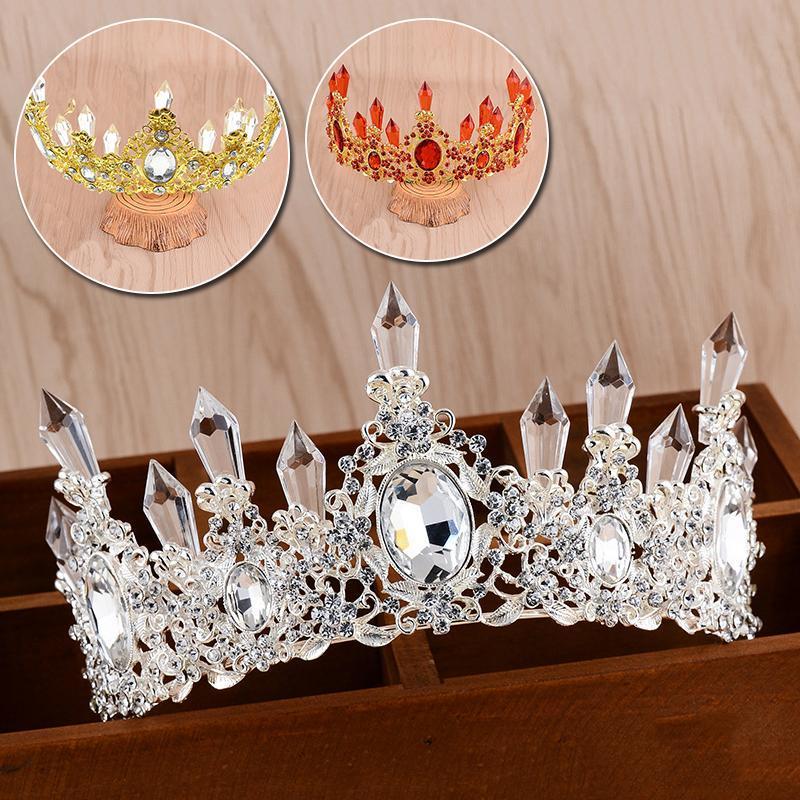 Saç Klipler Barrettes Lüks Kristal Düğün Taç Gelin Başlığı Altın Gümüş Renk Rhinestone Kraliçe Prenses Tiaras Kadınlar Takı için