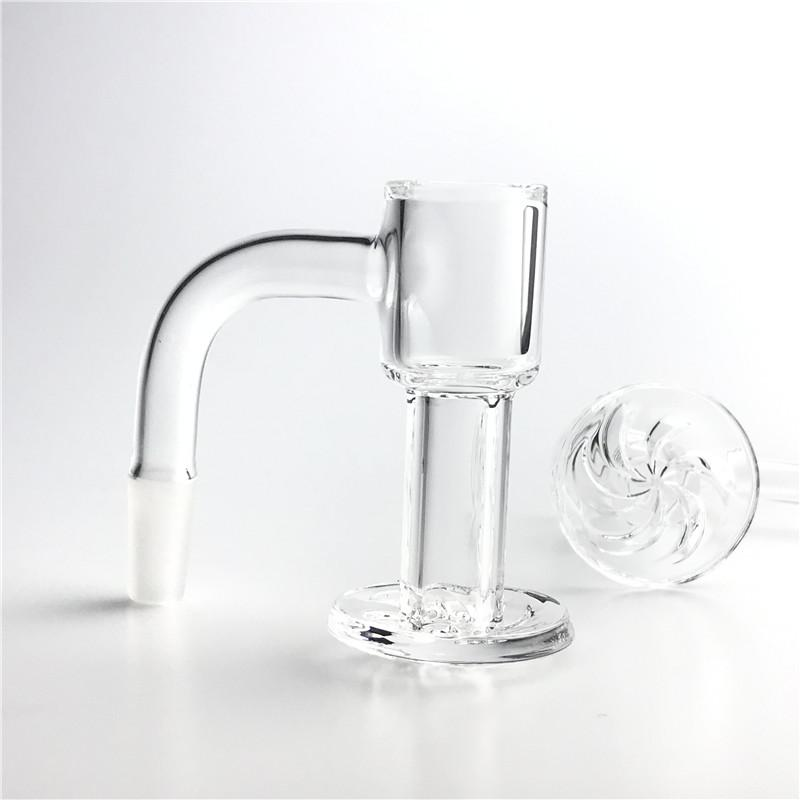 20mm 2.5mm Thick Quartz Spin Terp Slurper Banger HQ Hookah Fully Weld Nail with Mini Beveled Bucket 30mm Bottom Spinning Nails for Glass Smoking Bong