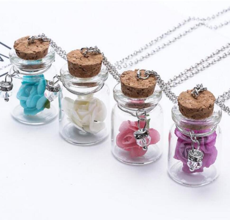 Colar de prata luminosa desejo de garrafa de vidro cristal de cristal pingentes de jóias de flor acessórios luminosos jóia de pingente para