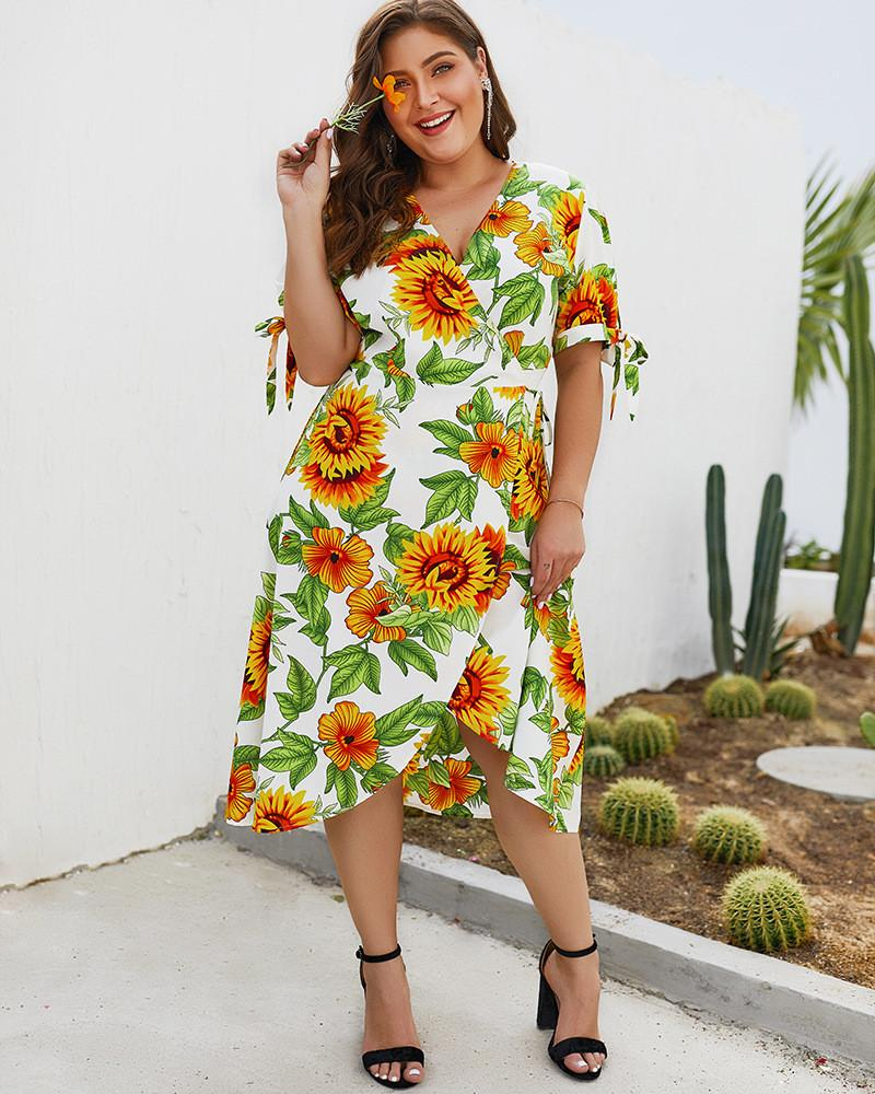 Plus Size Women Designer Dresses Sexy Print Short Sleeve Dress Fashion Summer V Neck Mini Dress