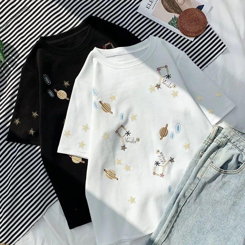 2021 designers verão camiseta homens mulheres casuais com impressão homem mangas curtas Roupas 20ss soltos Ampliados Ampliados Star Universo Universo Algodão Puro 35-75KG