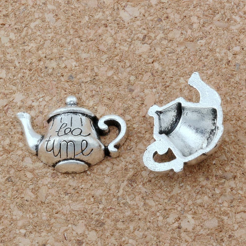 """100pcs Antique argento lega monopati """"Tea Time"""" Tea Pot Pendente di Charms per gioielli Making Bracciale Collana Conformità 19 * 12.5mm A-137"""