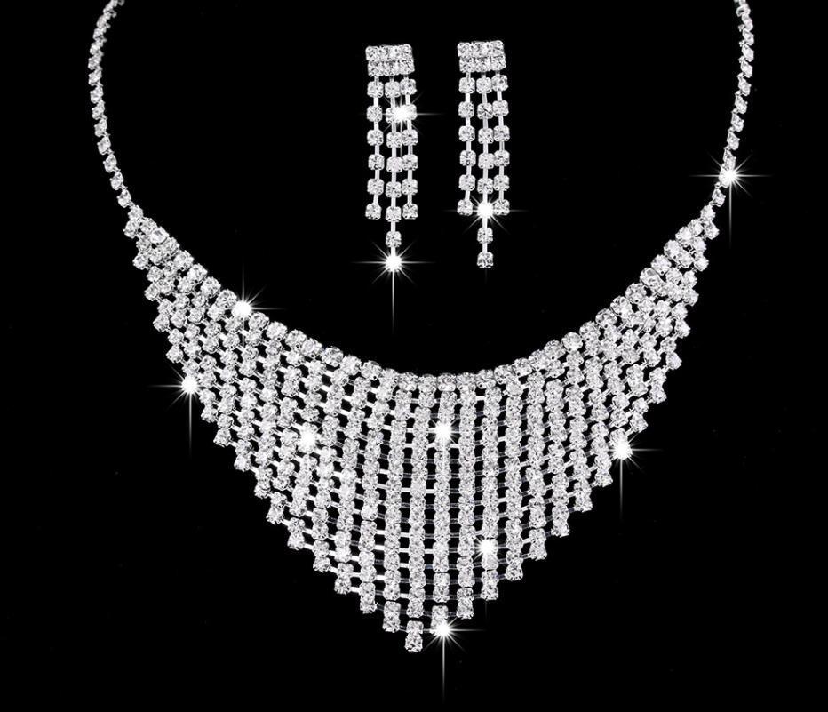 Conjuntos de jóias de cristal de cristal de cristal de cor de prata para mulheres colar brincos pulseira conjunto acessórios de casamento