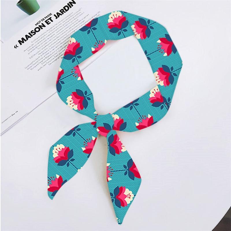Primavera e autunno Chiffon Piccolo sciarpa Geometrico Pianta Geometrica Pianta floreale Stampa Borsa Ribbon Moda Donna Sciarpe