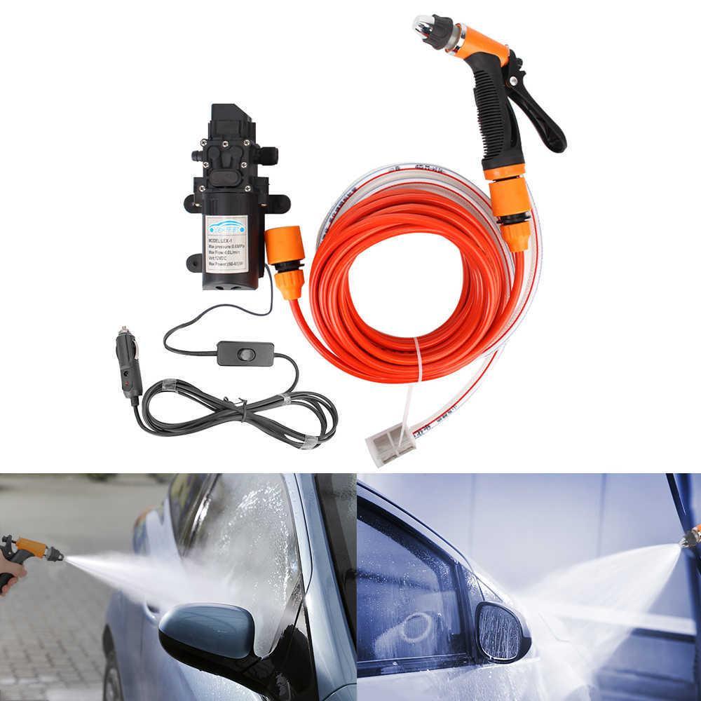 غسالة خرطوم مجموعة غسل آلة تنظيف 12 فولت اكسسوارات السيارات المحمولة مع محول سيارة ارتفاع ضغط بندقية مضخة المياه الكهربائية