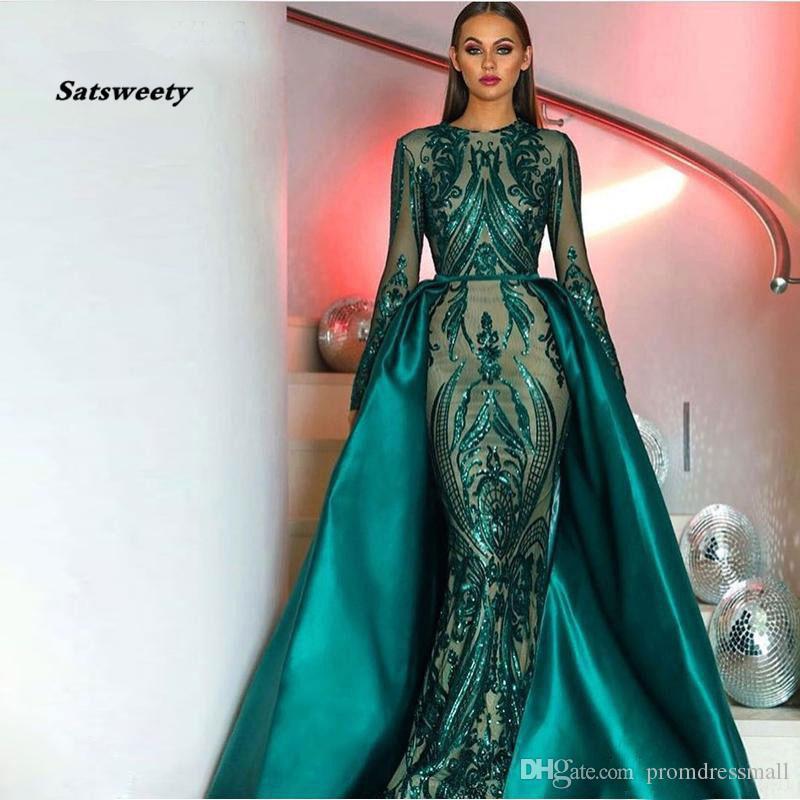 Vestidos de noche de manga larga verdes musulmanas elegantes con trenes desmontables, lentejuelas de lentejuelas, marroquí, kafta, vestido de fiesta formal