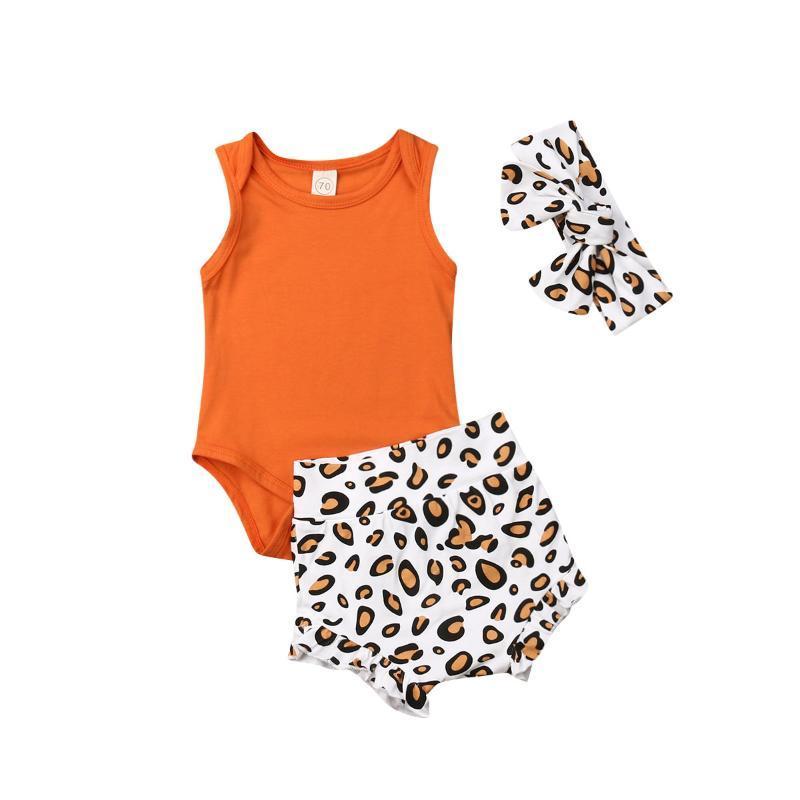 Детские детские девочки девочек летом без рукавов Romper леопардовые короткие брюки навязки повязки повседневные наборы одежды