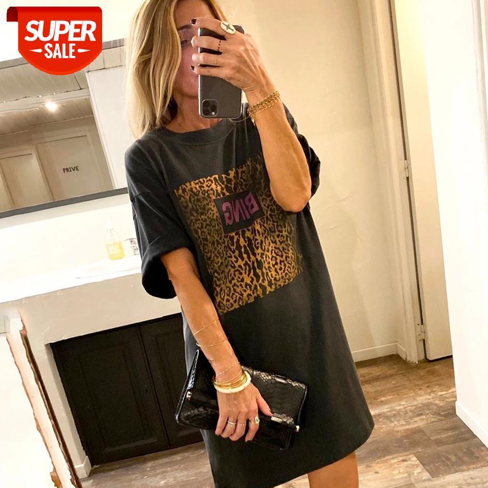 Vintage Femmes Tee Robe Lettre Let-shirt Long T-shirt Long T-shirt 100% coton Chemise à col rond à manches courtes Chemise d'été surdimensionnée # 3v5g