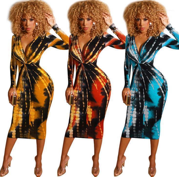 Окрашивание галстука напечатанные осенние клубы сексуальные тонкие с длинными рукавами темные платья с V-образным вырезом женская мода партии платья дизайнерские женские платья