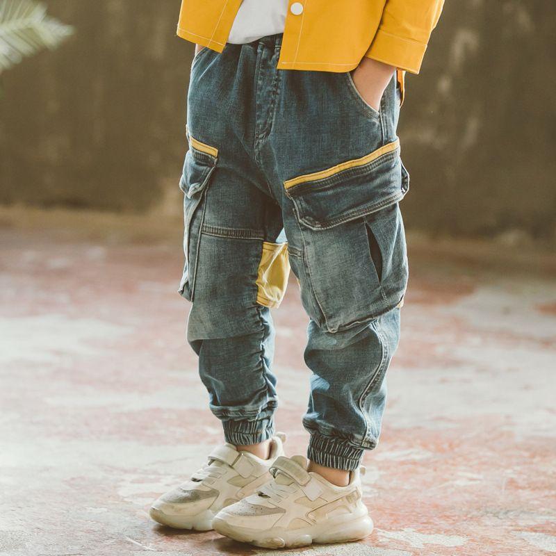 Kindermode Jeans Neue 2021 Herbst und Frühling Kinder Freizeithose Jungen Hosen Denim Himmel Blaue Farbe Größe4-14 Jeans LY030 104 Z2