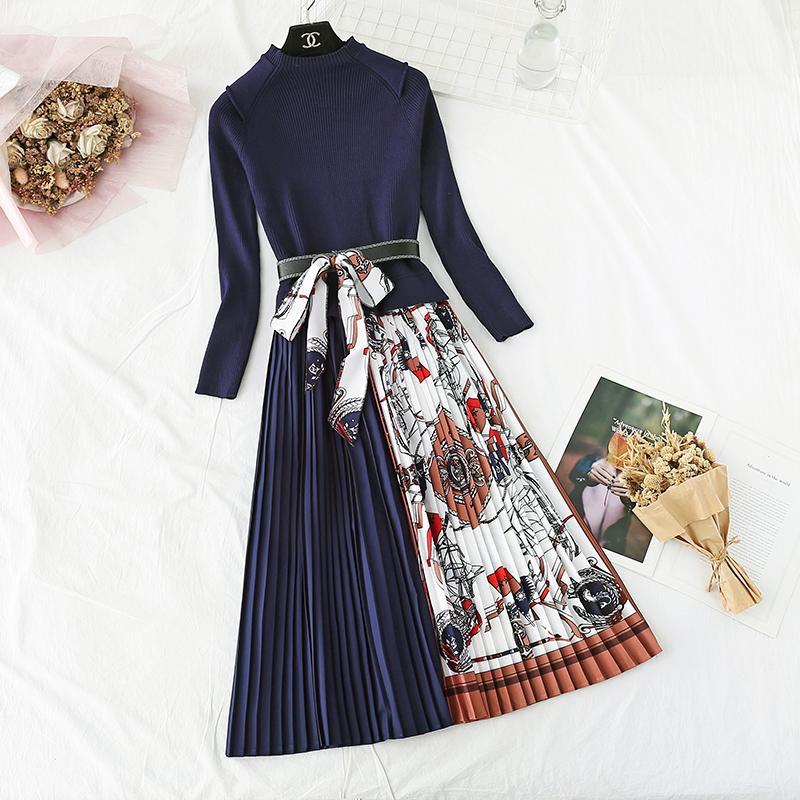 2021 Baskı Pileli Elbise Kadın Elbiseler Zarif Örme Patchwork Uzun Midi Elbise Sonbahar Kış Uzun Kollu Vintage Kemer Sashes