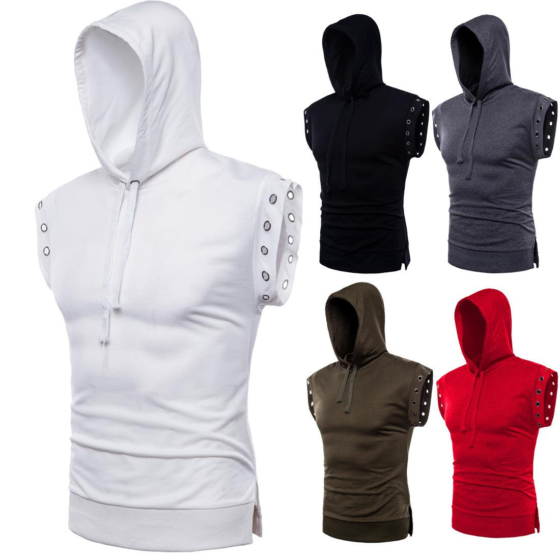 2021 Mens T-shirt Men Summer Fishion tshirt Cool Casual Sport Style Solid Color Tee breathable Hooded Sleeveless Leisure Width Top