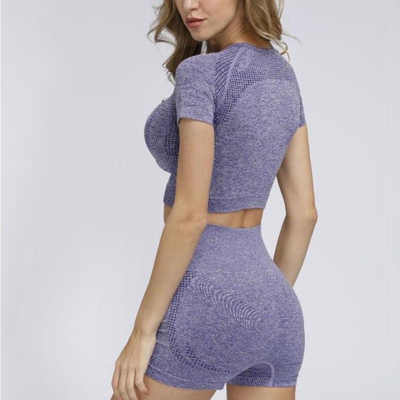 12 색 여성 원활한 요가 세트 피트니스 스포츠 정장 체육관 의류 긴 소매 셔츠 높은 허리 레깅스 운동 바지 꼭대기