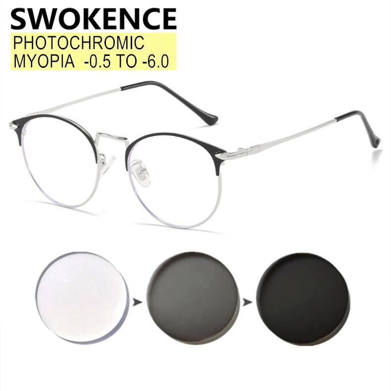 Наполнение рецепта -0.5 до -6.0 Миониевые очки настраиваемые мужчины Женщины Элегантная металлическая рама Ближеные очки F042 Солнцезащитные очки