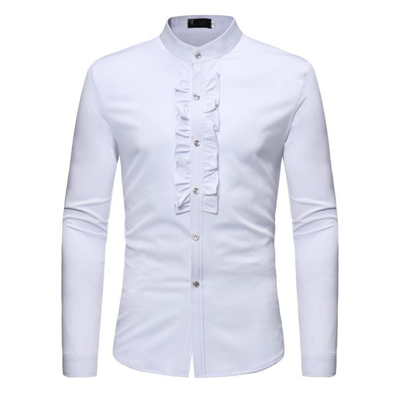 슬리브 남자 셔츠 긴 스탠드 칼라 결혼식 신랑 저녁 식사 블랙 화이트 싱어 댄서 호스트 파티 연회 무대 의상 캐주얼