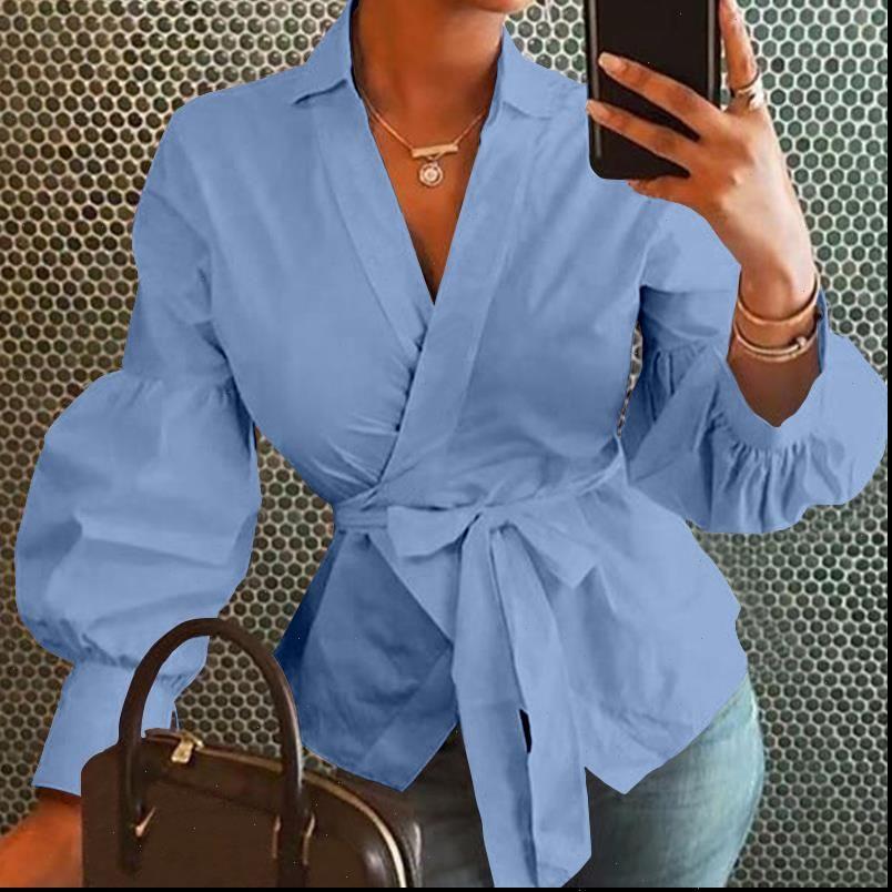 Bayan Gömlek Artı Boyutu Moda Kadın Üstleri Ve Bluzlar Vintage Fener Kollu Gömlek Tunik Rahat Gevşek V Boyun Zarif OL