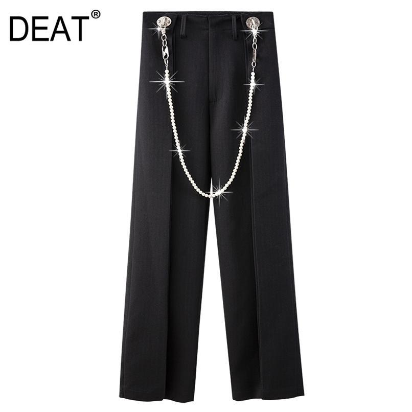 Hohe elastische Taille Hosen Lose Hosen Frauen Schwarz Patchwork Kette Perlen Taschen Mode Sommer 7E9094 210512