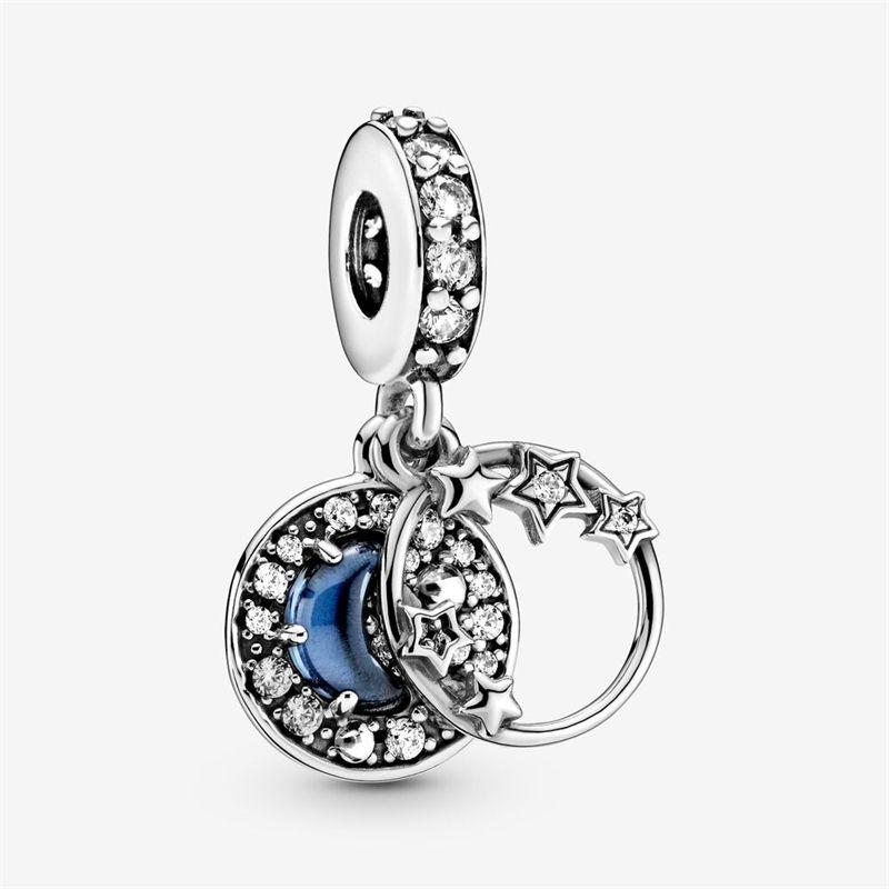 925 Sterling Silber Blau Nacht Himmel Halbmond Mond und Sterne Baumeln Charme Fit Pandora Armband Halskette Anhänger Charme DIY Schmuck 210319