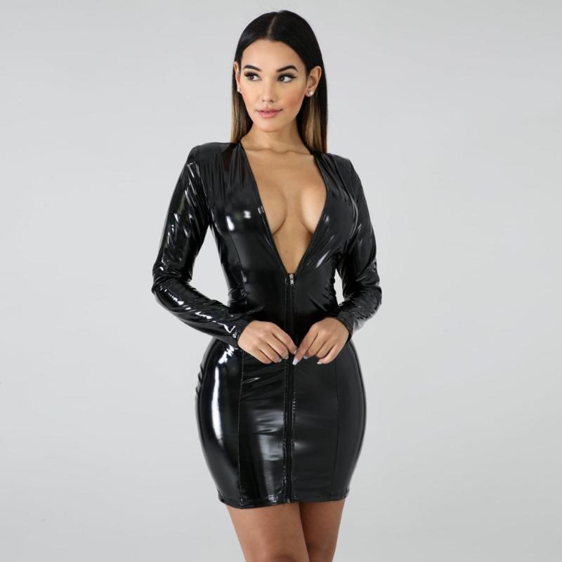 Günlük Elbiseler Artı Boyutu Seksi Wetlook PVC Parlak Uzun Kollu Derin V Yaka Paketi Kalça Elbise Faux Lateks PU Deri Clubwear Vestido Minifalda