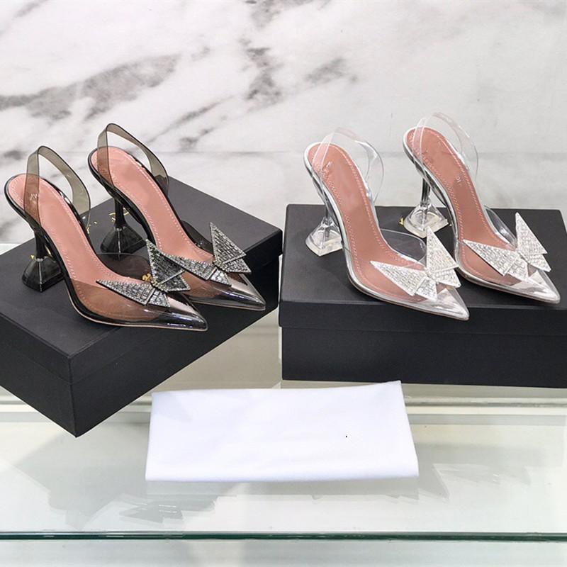 Роскошный дизайн женская обувь прозрачная мода сандалии на высоком каблуке формальные износа плюс алмазные повседневные банкетные свадьбы