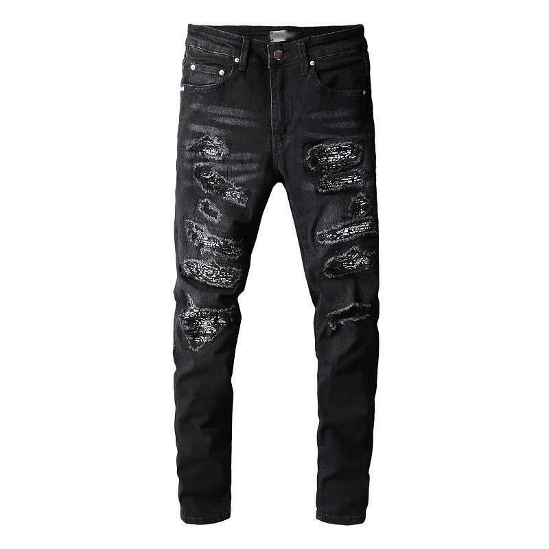 Jeans masculinos mcikkny homens oi rua rasgado cachoeira calças streetwear fino fit denim calças macho